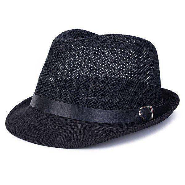 High-quality Men Women Hollow Out Mesh Top Hat Casual Braid Fedora Beach Sun Flax Panama Jazz Hat - NewChic