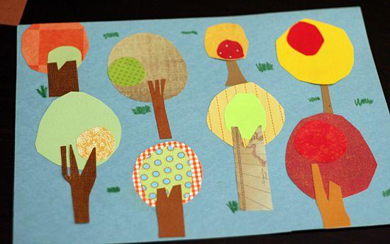 Mooie papieren bomen knutselen van restjes papier.