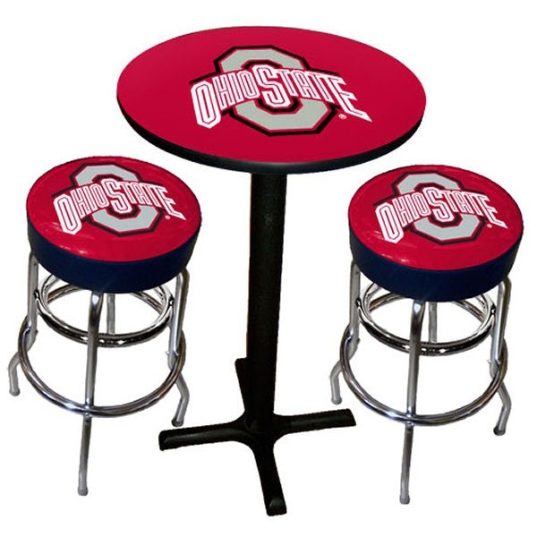 Ohio State Buckeye pub table and bar stools. Perfect for a sports den!