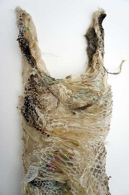 Textile Art - mixed media & shed snake dress - dress sculpture; fiber art // Louise Richardson