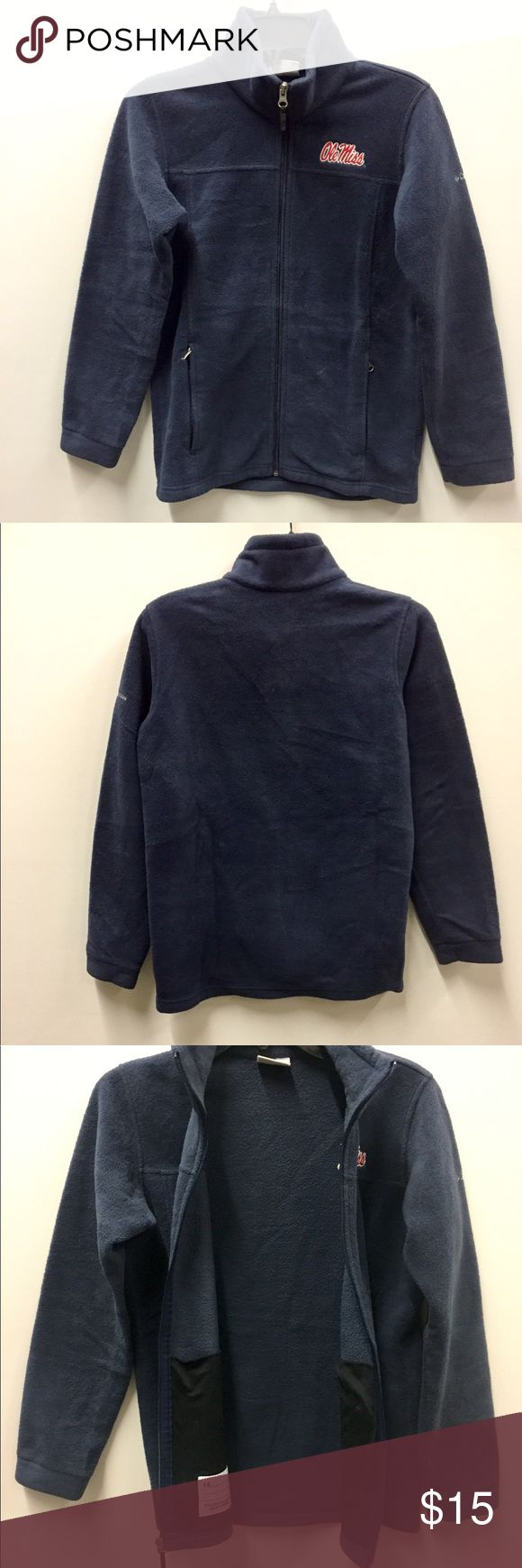 Navy Large Columbia Sports Wear Ole Miss Fleece. Fleece is darker than the pics shows do to my lighting. Navy with Ole Miss in Red letters on front. 2 front pockets and Zipper Fastening. 100% Polyester. 19in Chest and 25in long. Columbia Shirts & Tops Sweatshirts & Hoodies