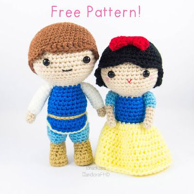 Snow White and Prince Charming Amigurumi - Free English Pattern here: http://snacksieshandicraftcorner.blogspot.com.es/2015/08/snow-white-and-prince-amigurumi-pattern.html