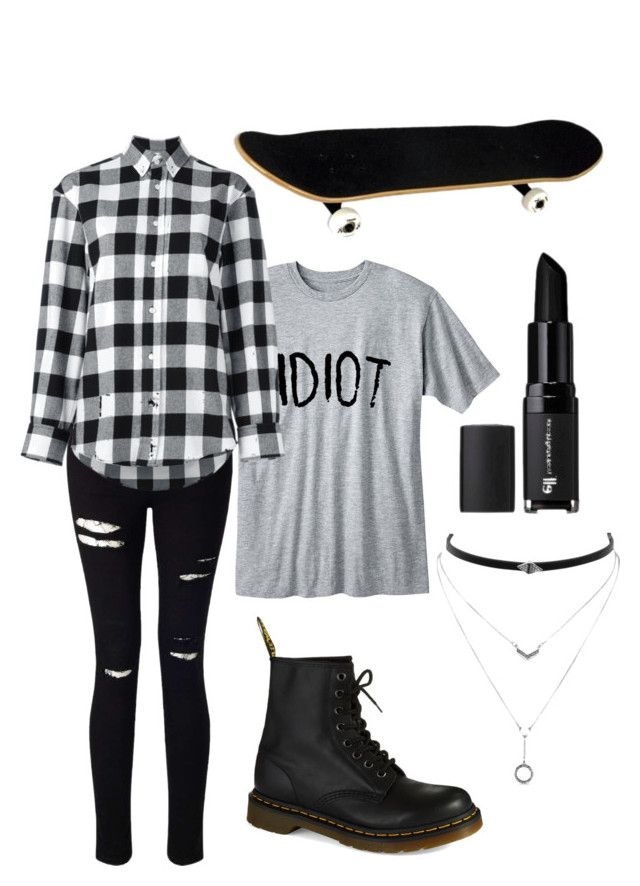 """""""Skater"""" by haechans-vocal-chords on Polyvore featuring Miss Selfridge, Golden Goose, Dr. Martens, Jessica Simpson and e.l.f."""