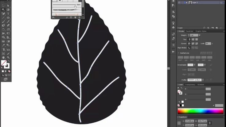 leaf black silhouette - Adobe Illustrator tutorial. Quick and easy way h...