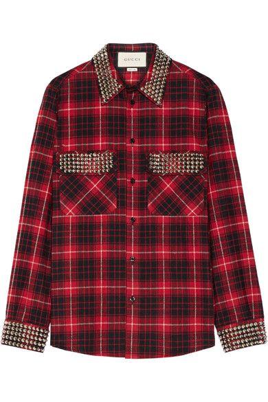 Gucci | Embellished plaid cotton-flannel shirt | NET-A-PORTER.COM