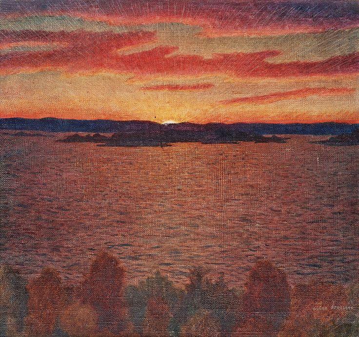 Oskar Bergman (Swedish, 1879-1963), Sunset. Canvas laid down on paper-panel, 32 x 33 cm.