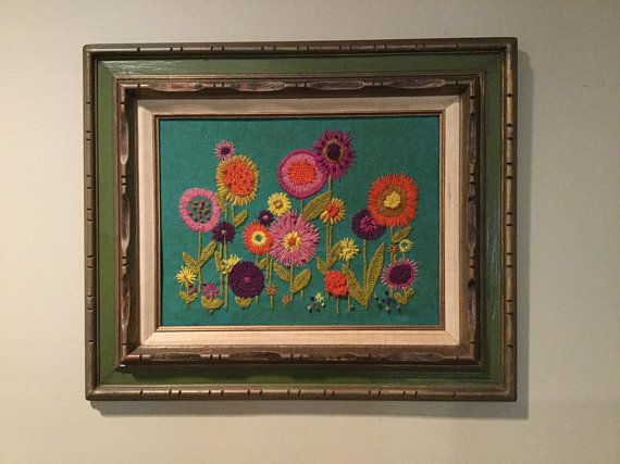 60s 70s Mod Crewel Embroidery Framed Picture Retro Flower Crewel Embroidery Tutorial Crewel Embroidery Embroidery Art
