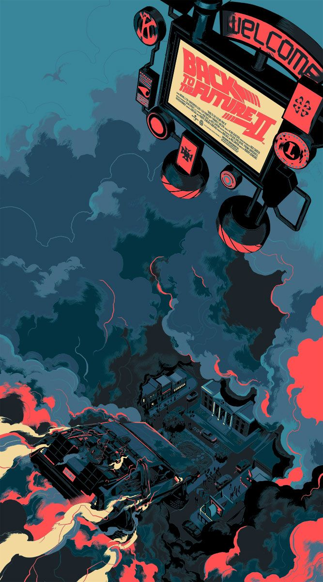 "Amazing, amazing poster for Back To The Future II. By Matt Taylor, sold by Mondo Tees. ""Featuring the DeLorean's descent into Hill Valley circa 2015."""