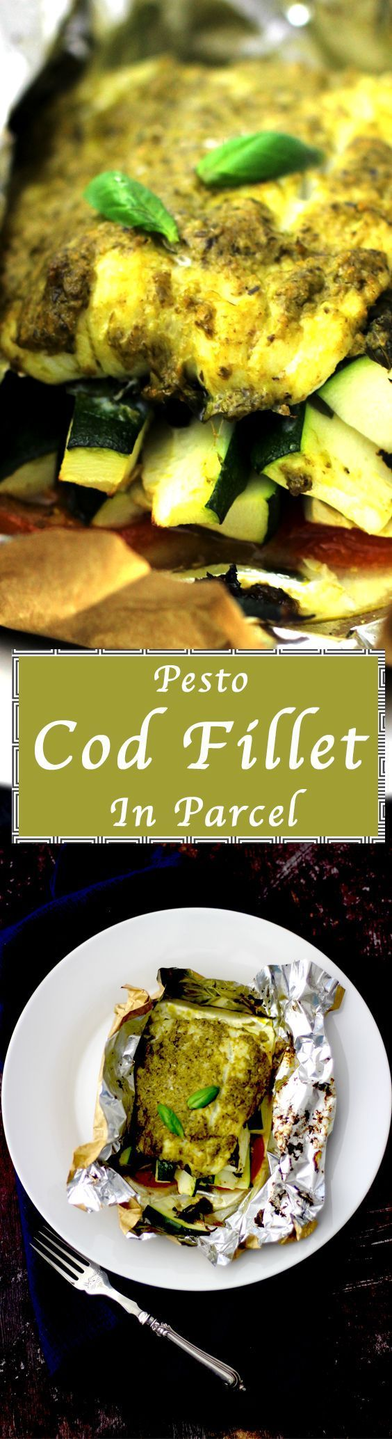 Basil Pesto Cod Fillet in Parcel - under 200 calories meal in less than 30 minutes. Weekday meal plan. Courgette, Tomatoes, Garlic and pepper. Parcel made with parchment paper and in the oven for 20 minutes. Easy Seafood recipe for healthy diet.