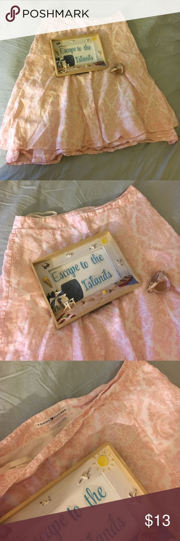 Tommy Hilfiger Pink Summer Skirt - Size 4 Excellent condition. Length is up to the knees. Material 100%linen. Tommy Hilfiger Skirts A-Line or Full