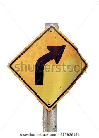 sign road Vintage winding old - stock photo