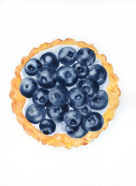 Blueberry Tart ORIGINAL Painting Desset por ForestSpiritArt, £25.00