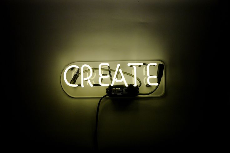 Give yourself an everyday reminder to nourish your creativity with our Create neon sign. Our neon glass is handcrafted and filled with a mixture of noble gasses, then electrified to create that iconic