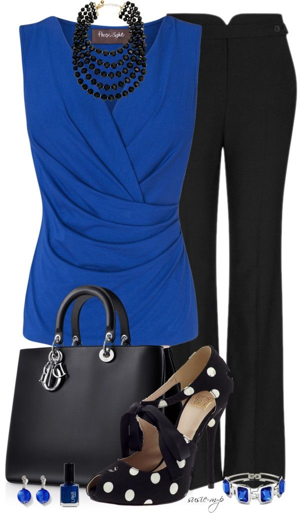200. Great work outfit. Blue and black. Love the black pearls and polka dots in the shoes