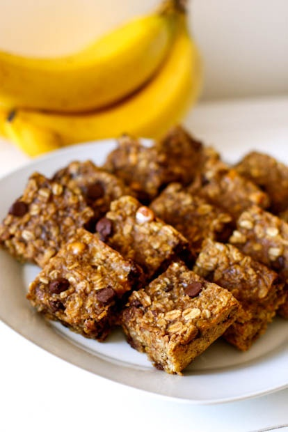 (Healthy!) Peanut Butter Banana Chocolate Chip Oatmeal Bars. I make these all the time!