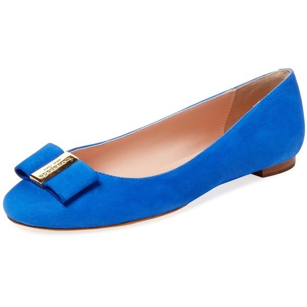 kate spade new york shoes Women's Thyme Bow Ballet Flat - Blue, Size... ($100) ❤ liked on Polyvore featuring shoes, flats, blue, ballerina flat shoes, ballet flat shoes, ballet pumps, skimmer flats and ballerina pumps