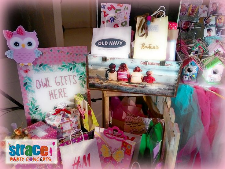 Owl Party Set-up by Strace Party Concepts: Gifts Corner