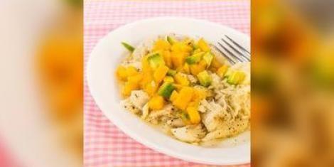 Salade van gerookte schelvis met mango