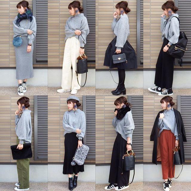 コーデの記録☺️ リクエスト頂いていたニコさんのグレーのニット着回しコーデまとめ。 ひろこさん❤️本当にお待たせしてしまいました まだまだ着回すのでこれからもよろしくお願いします ・ tops#nicoand ・ #code #cordinate #outfit #プチプラコーデ#fashion#fashionpost #コーデ#コーディネート#ママコーデ#wear#ママファッション#今日のコーデ #今日の服#ファッション#オトナカジュアル #大人カジュアル #ozoc#冬コーデ#冬のコーデ#おしゃれ#オシャレ#ニットスカート#着回しコーデ #gu#forever21#zara #グレー#グレーニット#モノトーン