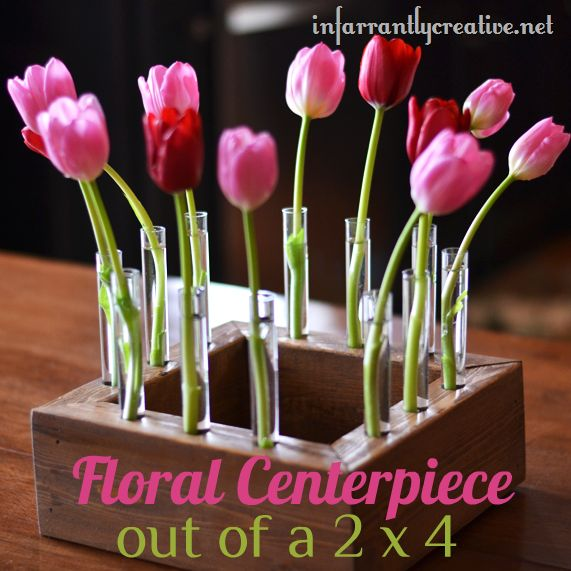 Floral centerpiece made out of 2x4s