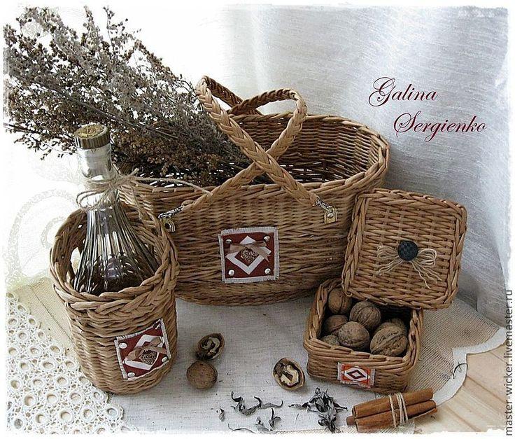 """Купить Плетеный набор """"Vine unity"""". - бежевый, корзина, короб для хранения, набор для кухни, корзинка"""