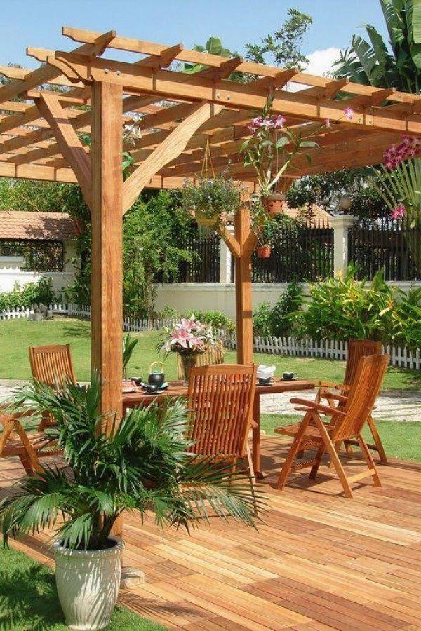 Simple Patio Pergola Design no. 6   29 Creative DIY wooden Pergola Plans  You Can - Simple Patio Pergola Design No. 6 29 Creative DIY Wooden Pergola