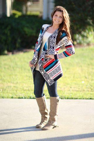 Waterfall sweater Multi Color Aztec Print