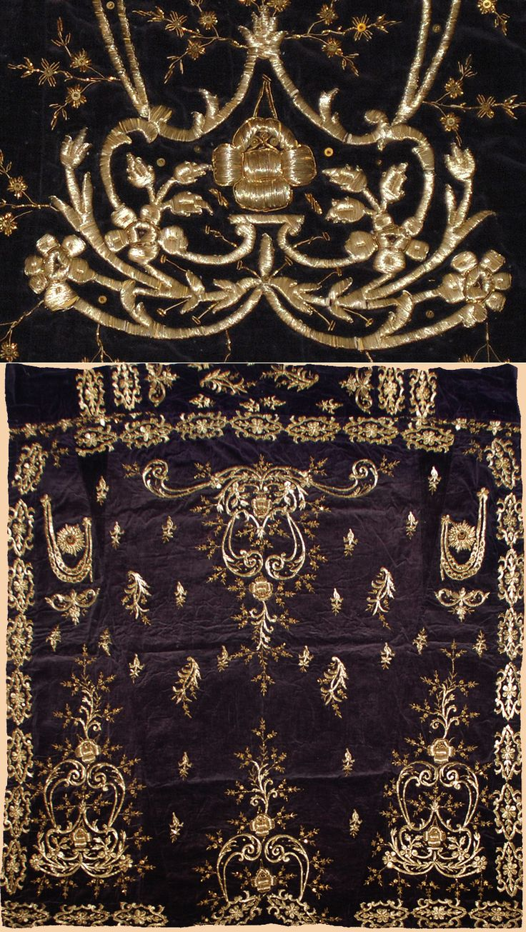Antique Turkish Textile Velvet embroidery with silver thread.