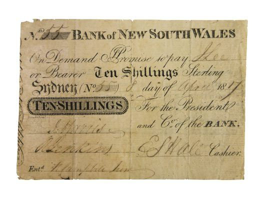 "Australia's first bank note - issued ""8 April 1817 on the first day of operations of the nation's first ever bank, the Bank of New South Wales."" It was established by Governor Lachlan Macquarie and is now named...Westpac. (Australian Museum)"