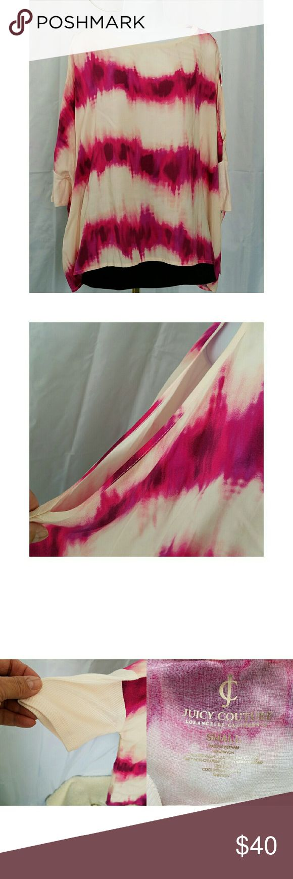 """JUICY COUTURE BATWING TIE DYE TOP NWT S JUICY COUTURE BATWING TIE DYE TOP in pinks and purples on a cream background.  It has cold shoulder sleeves that end in a knitted middle arm cuff.  Armpit to armpit is 35"""" and shoulder to hem length is 25"""". 100% rayon.  All measurements are approximate and taken flat.  NWT Juicy Couture Tops Tunics"""