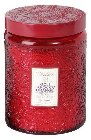 Japonica Goji Tarocco Orange Embossed Voluspa Jar Candle | Goji Tarocco Orange boasts a fragrant blend of goji berry, ripe mango and Tarocco orange.