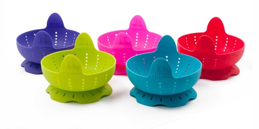 Zeal Silicone Steam It Baskets. These have a double function, turning inside out can be used as a strainer. Also when steaming vegetables, can take the strainer right out of the pot without burning your fingers! By Kitchen Innovations