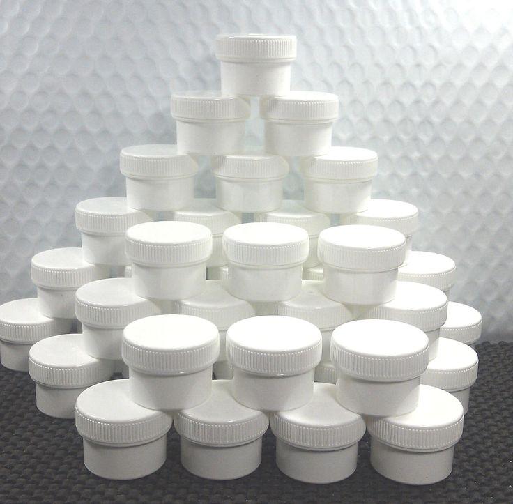 9 Tiny 1/2 oz Small Plastic Jars White Screw Caps Container Makeup Lip #3803 USA #DecoJarsBrightWhiteJarSizeStockK3803