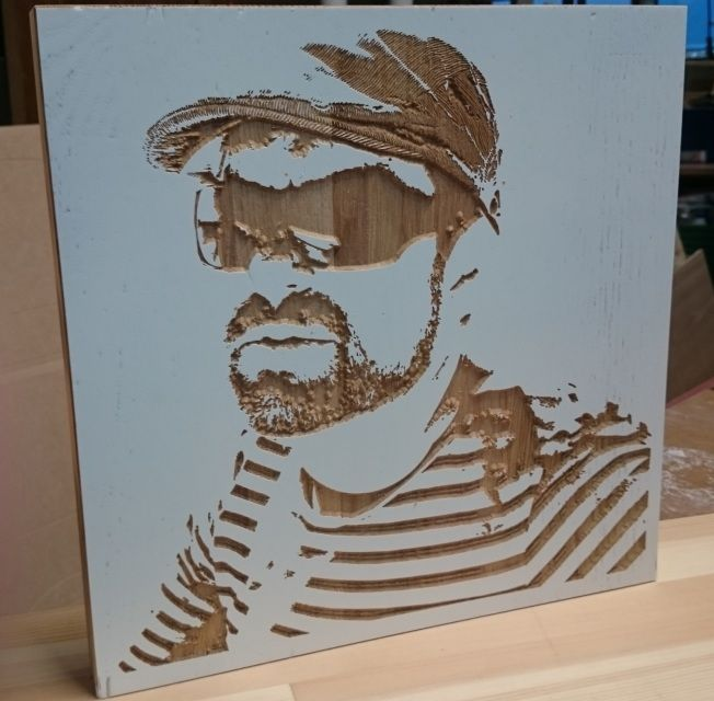 3d computer carved wooden portrait, oak and white lacquer