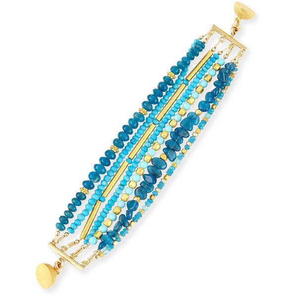 Dina Mackney Turquoise & Apatite Beaded Bracelet ($450) ❤ liked on Polyvore featuring jewelry, bracelets, gold, 18k bracelet, magnetic jewelry, 18k gold bangle, jade bangle and magnet bracelet