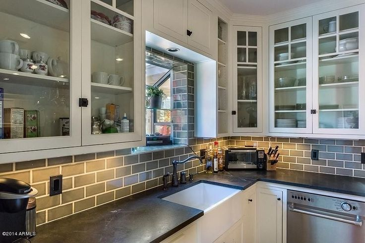 Cottage Kitchen with Greenhouse window, Crown molding, Flush, L-shaped, Rejuvenation Large Oval Solid Brass Cupboard Latch