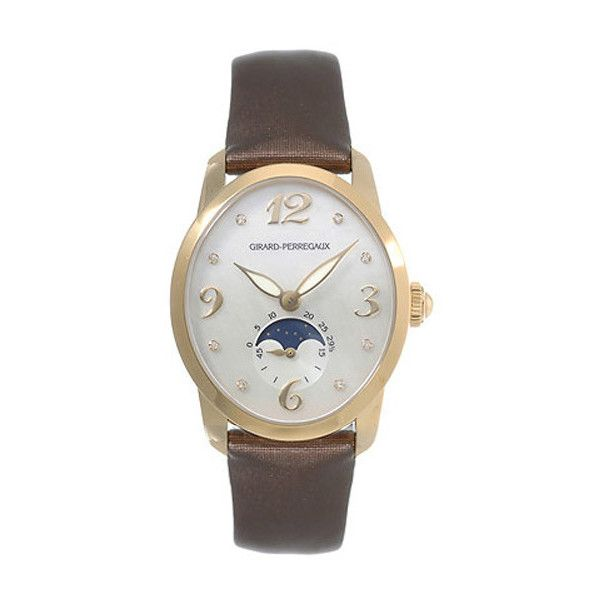 Girard Perregaux Cats Eye Diamond 18kt Yellow Gold Brown Satin Ladies... ($12,410) ❤ liked on Polyvore featuring jewelry, watches, diamond bracelet, analog watches, yellow gold diamond bracelet, see through watches and brown diamond bracelet