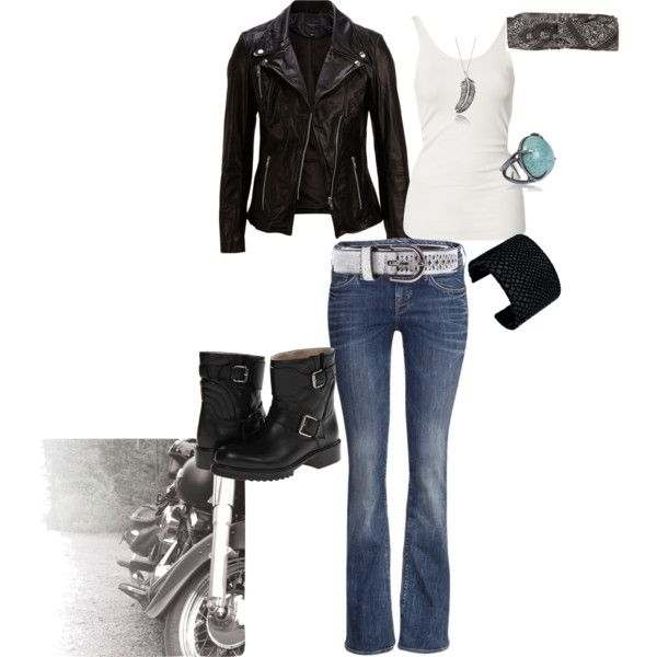 biker jacket and boots with jeans. Pair this with a long round hem tank and its Good for an apple shape.