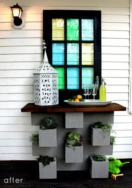Cinder blocks table-LOVE THIS!!!! ~By the front door, maybe!?!?