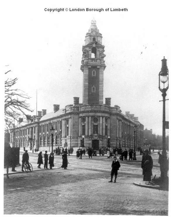 Lambeth Town Hall, Brixton Central Lambeth Town Hall, Brixton, was opened by King GeorgeV and Queen Mary (then Prince and Princess of Wales) on the 29th April, 1908. The building was designed by Messrs. Septimus Warwick an d H.Austen Hall. This view from across the road at the junction of Coldharbour Lane and Brixton Road shows the building shortly after it was opened, before the clock was installed on the tower.