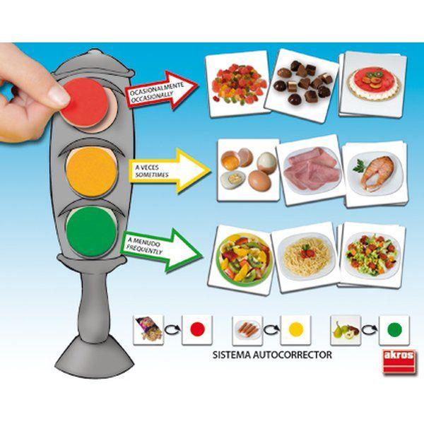 El semáforo de la buena alimentación, Juego de asociación para aprender a relacionar los alimentos básicos con los colores del semáforo, en base a la frecuencia con que se deben tomar dichos alimentos, siendo el verde: a menudo, el ámbar: a veces y el rojo: ocasionalmente. El Juego está compuesto por las siguientes fichas: 6 semáforos (7 x 18 cm) + 54 alimentos (7 x 7 cm) + fichas de colores (verde, ámbar y rojo)para rellenar los semáforos. Incluye guía pedagógica + pirámide de los alimentos