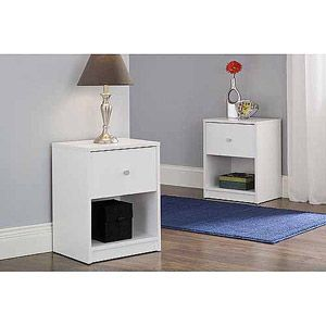 Set of 2 White Nightstands Bedroom Decor Nightstand