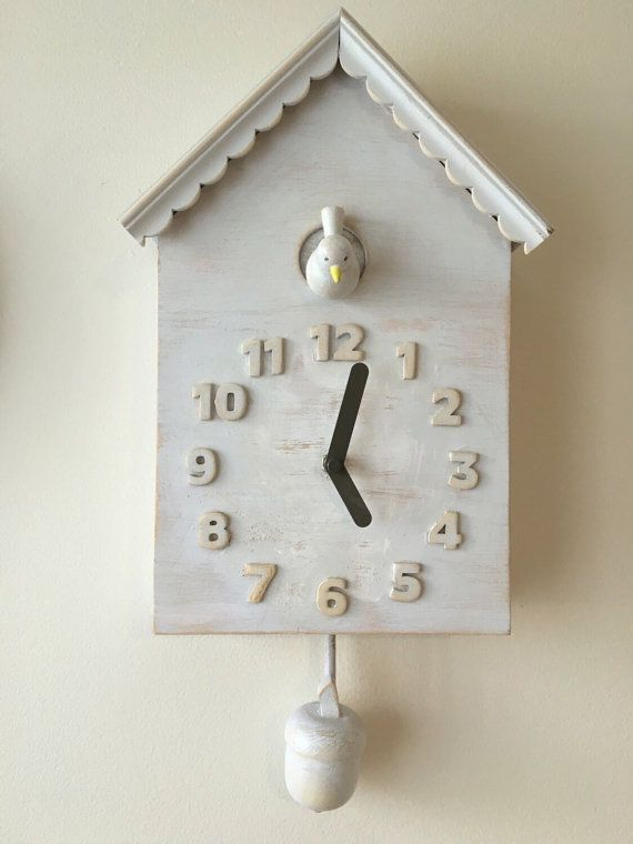 Modern cuckoo clock with bird and acorn rustic by WickedGoodGoods