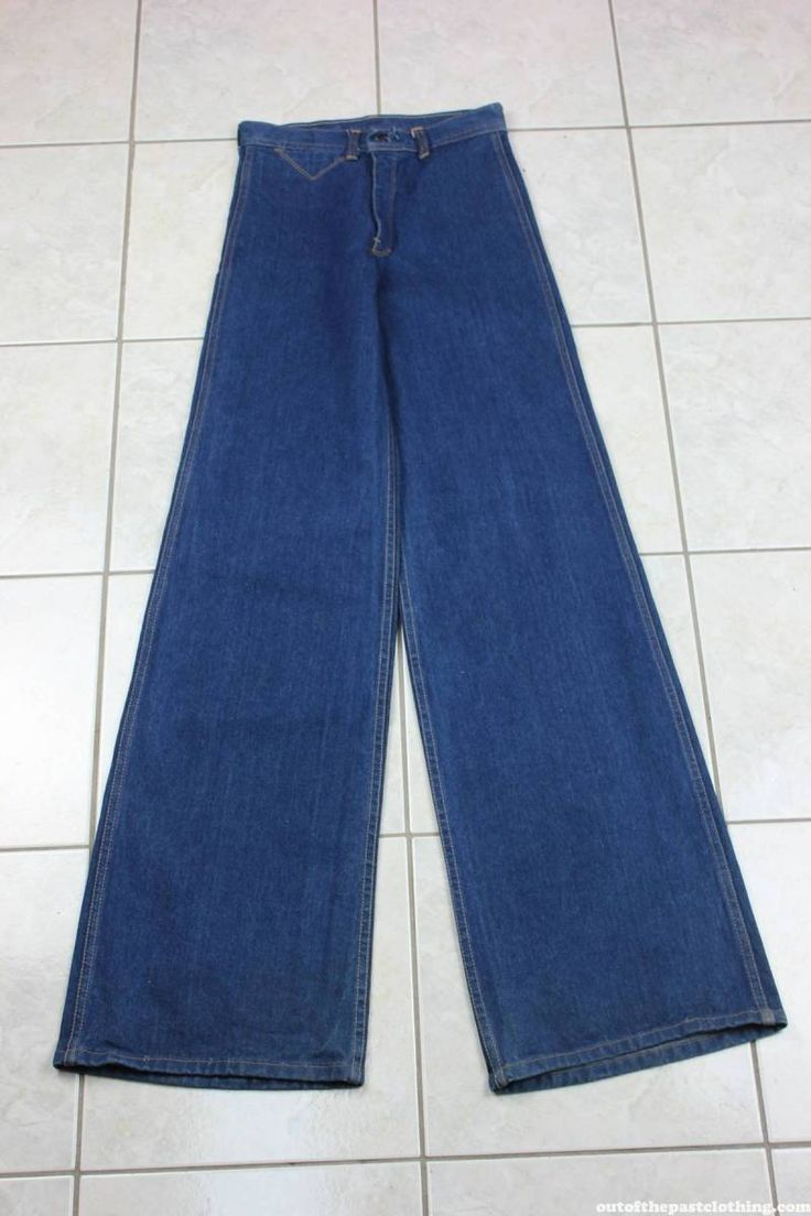High Waisted NOS Vintage 1970s Bell Bottom Disco Jeans