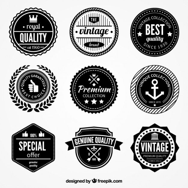 Retro quality badges Free Vector