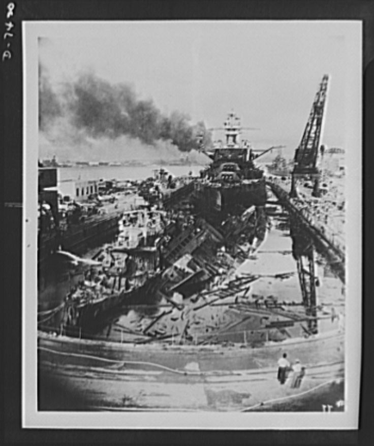 Pearl Harbor bombing. USS Downes and Cassin. The jumbled mass of wreckage in the foreground of drydock number one are the U.S. destroyers, Downes (left) and Cassin (right). The battleship in the rear is the USS Pennsylvania, 33,100 ton flagship of the Pacific Fleet, which suffered relatively light damage during the Japanese attack. The Pennsylvania was repaired shortly after the attack. Main and auxiliary machinery fittings of the Downes and Cassin are being transferred to new hulls