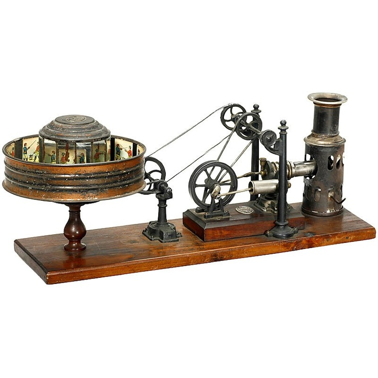 """Kinematofor"" by Ernst Plank, 1898 Extremely rare original ""Praxinoscope"" powered by a hot-air engine, made by the famous German tin toy manufacturer Ernst Plank, Nuremberg. Very attractive apparatus to demonstrate ""living pictures"" from the time ""when pictures began to run."""