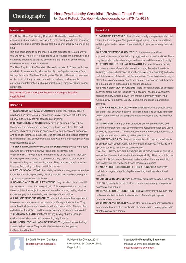 Hare Psychopathy Checklist - Revised Cheat Sheet by Davidpol http://www.cheatography.com/davidpol/cheat-sheets/hare-psychopathy-checklist-revised/ #cheatsheet #checklist #psychopathy #hare #revised #pcl-r