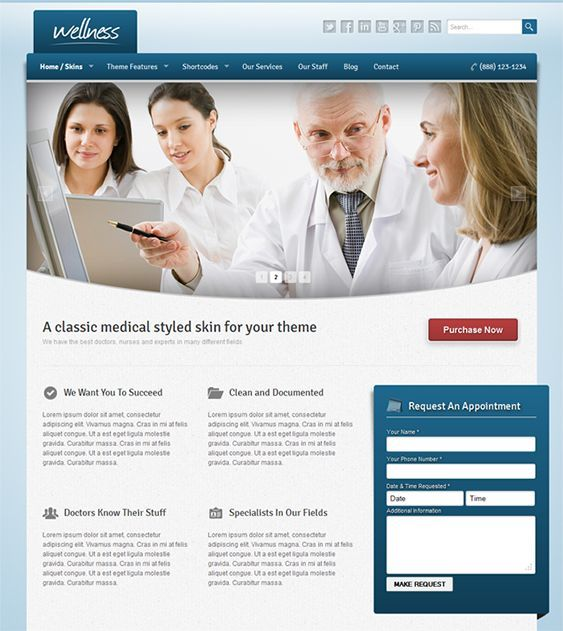 This medical WordPress theme features a responsive layout, 4 predefined skins for you to choose from, an appointment request form, SEO-friendly code, shortcodes, custom widgets, a responsive slider, cross-browser compatibility, and more.