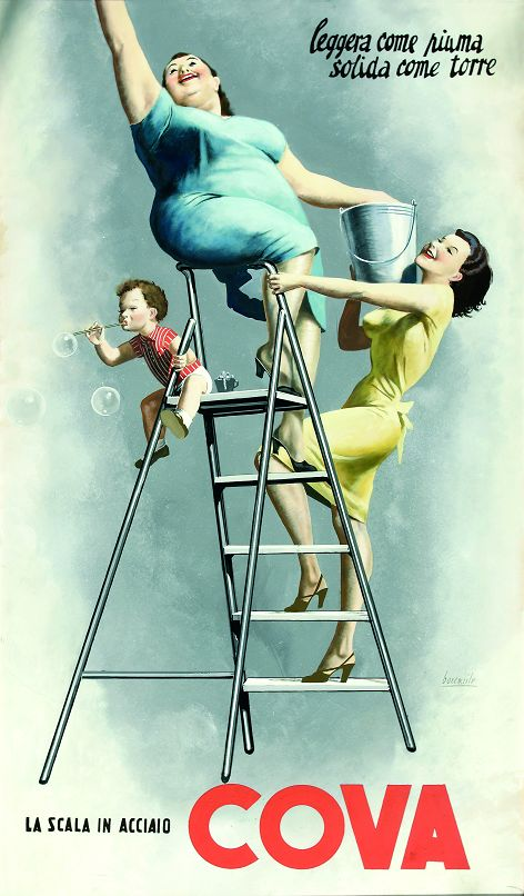 """""""Light as a feather, solid like a tower"""". Vintage Italian Posters ~ Cova  By Gino Boccasile (1950)"""
